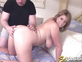 Amateur video of a dude fucking his busty blonde wife Lisa Sparxxx