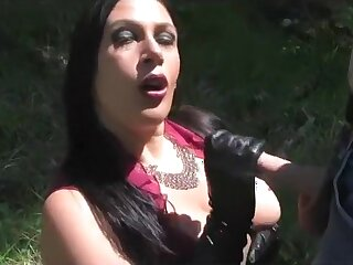 Busty Sunshine Lady - Outdoor Blowjob Handjob with Long Leather Gloves - Cum on my Special