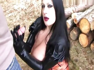 Sucking Forest Lady - Blowjob Handjob upon Rubber Gloves - Fuck my Mouth - Fuck my Tits - Cum on my Tits