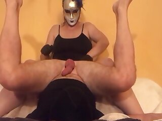 Femdom Mistress milking cock with gloves