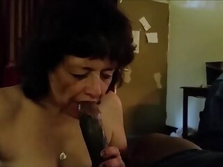 This grandma really love swell up bbc and hit the sauce his cum