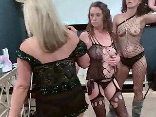 Amateur swingers in chap-fallen lingerie pulling cock