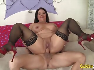 Hot increased by scalding female parent Leylani Wood  bouncing on mincing increased by thick dicks less cowgirl