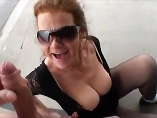 Older woman swell up heavy dick outdoor and get facial