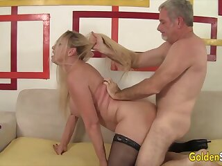 Mature blonde body of men enjoy their superannuated pussies getting reamed by hard dicks nearby many positions