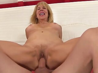 Sizzling blonde grandma Erica Lauren bounces on  cocks withershins cowgirl
