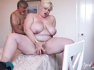 Horny friend is effectuation with hairy grown-up pussy of busty blonde