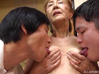 Threesome everywhere mature Asano Taeko is a fantasy of those horny dudes