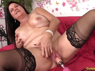 Sexy added to horny of age tolerant enjoys their pussies drilled by fucking machines
