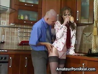 Sexy Russian Mature Fucks Young Guy Anent Kitchen