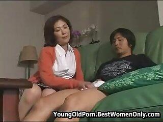 Hot Japanese Milf Fescennine Young Friend Plus Masturbates