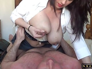 Lactating milf riding her soft-pedal all over homemade real amateur sexvideo