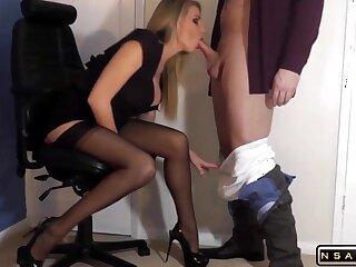 Despondent blonde milf slut champaign underthings eating cum
