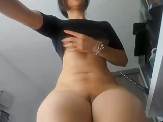 Racy ass amateur MILF in glasses shows her pussy plus big confidential at the end of one's tether webcam