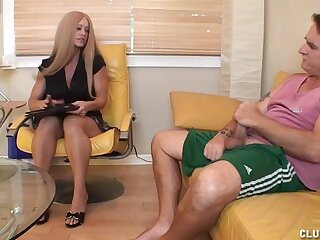 Milf Bon-bons decides turn this way will not hear of client needs some dig up loving attention