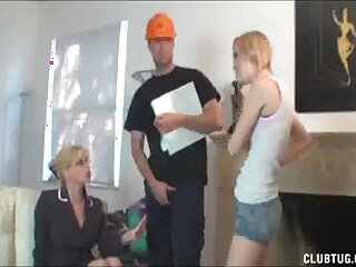 Employee enjoys property his dick pleasured by three horny sluts