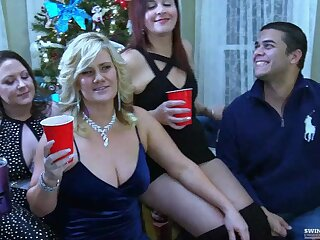 Three housewives sucking two hard cocks less exclusive homemade swinger video