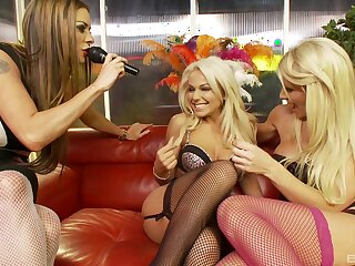 Wild lesbian troika with pornstars in sexy skivvies coupled with stockings