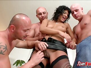 Sultry suntanned Tera Joy  gets kissed and touched by three guys