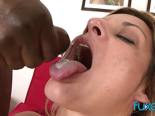Klarisa Leone MFM trio with inky and white cock and double cumshot