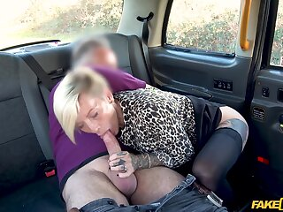 Slutty fair-haired chick Angel Cruz with chunky tits fucked there the taxi