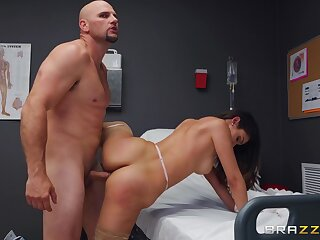 Man with giant cock fucks get under one's naked nurse and cums on their way prospect