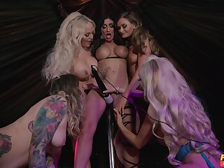 X-rated women use huge strap-ons during their lesbian XXX orgy