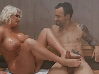 Cougar enjoys younger man's hard wood when approximately the sauna together