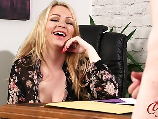 Secretary Penny Lee enjoys watching her boss stroking his penis