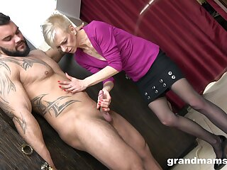 Skinny mature gets her hands on nephew's huge dong