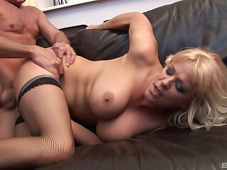 Mature slut in stockings gets fucked in her ass by an older man