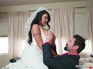 Busty MILF is ready to get married, but she also wants one more adventure