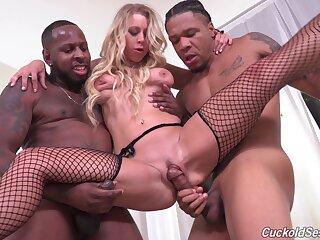 Clouded men let Katie Morgan's cuckold watch them enjoyment from her good