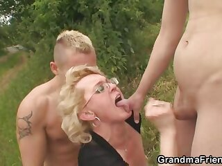 Old pussy and mouth taken outdoors