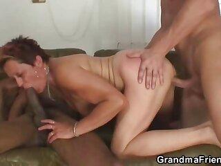 She pleasures their dicks like a granny